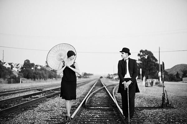 Charlie chaplin silent movie inspired engagement6
