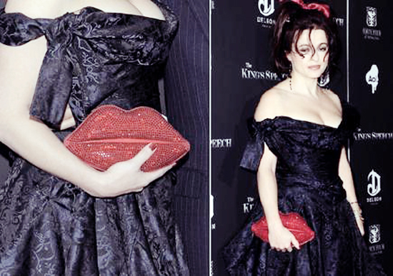 Helena Bonham Carter wth Lulu Guinness Lips clutch copy